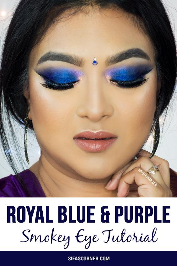 Royal Blue Purple Smokey Eye makeup tutorial